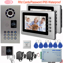 SUNFLOWERVDP Video Door Phone 2 Monitors Security Camera Inductive Card Video Intercom System 7 Inch Monitor IP65 Waterproof Kit