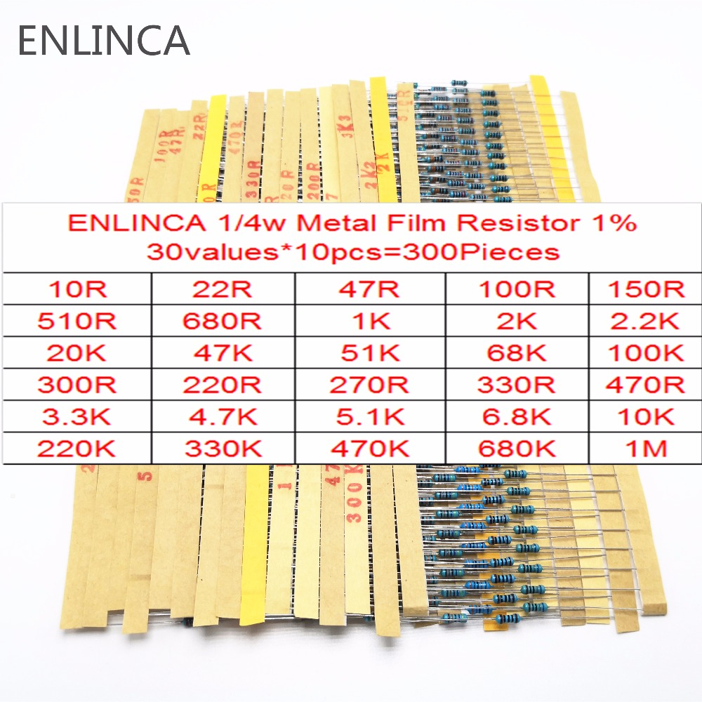 <font><b>30</b></font>-130Values 1/4W Metal Film <font><b>Resistor</b></font> Kit 1% 0.25W <font><b>Resistor</b></font> Assorted diy Kit Set 1 <font><b>ohm</b></font>-1M <font><b>ohm</b></font> Resistance Pack image