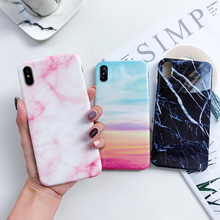 For iPhone 7 Back Case Fashion Marble Phone Coque for XR Xs Max Capa Soft Silicon Glossy Cover 6 6s 8Plus
