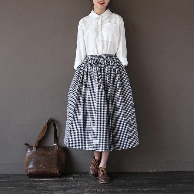 910a7243e9de Elastic waist Cotton Black White Plaid Women Skirt Vintage Mori girl style  Casual Summer Skirt Kawaii Cute Plaid Long Skirt A071