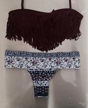 Hot 2016 Tassel Bra Woman Sexy Bikini Set Swimsuits Sport Fringe Top Swimwear Beachwear