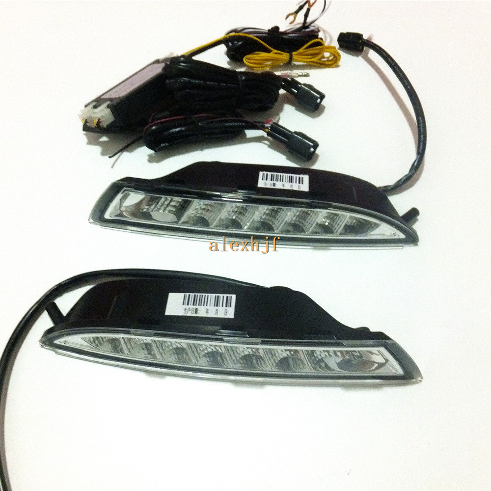 July King  LED Daytime Running Lights 6000K White DRL + Yellow Turn Signals Light case for VW scirocco 2008~13 fast ship for ford fusion 2013 16 guiding light daytime running lights drl turn signals 2x