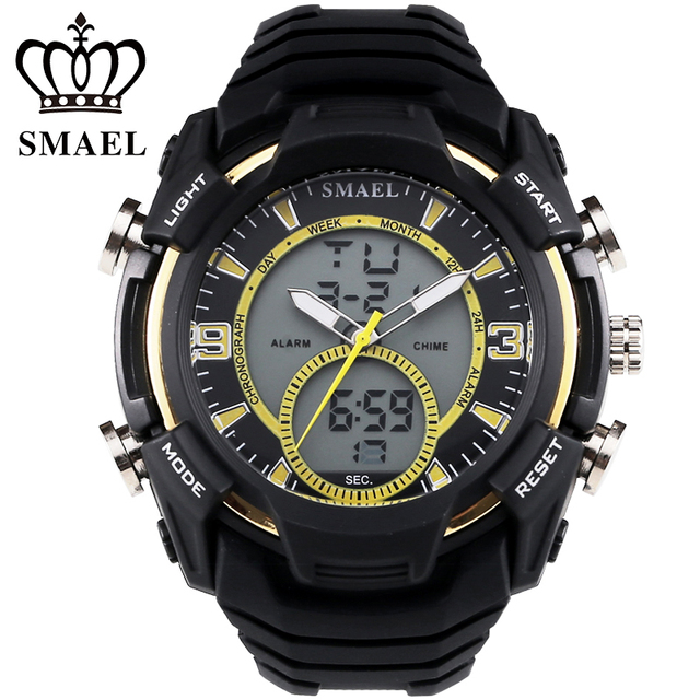 SMAEL Sport Watches Men LED Digital Wristwatch Analog-Digital Dual Display Wrist Watch Men Clock Gift relogios masculino WS1349