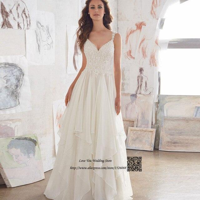 Billig Boho Hochzeitskleid Spitze Strand Brautkleider Importierte