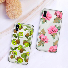 Floral Print Phone Case For iPhone 7 8 Plus XS Max XR Silicone Cases For iPhone X 8 7 6 6S Plus 5 SE Soft transparent TPU Cover цена и фото