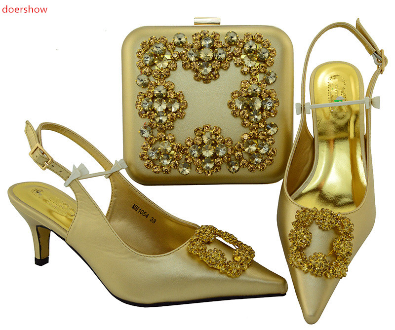 doershow African goldShoe and Matching Bags Italian Nigerian Women Wedding Shoes and Bag Sets Woman Italian Shoes and BagsSIU1-3 doershow africa woman s matching shoe and bag set africa shoe and matching bags sets hjz1 100