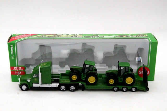 1:87 Siku 1837 Farmer Low Loader With 2 John Dere Tractors Models Diecast Toys Cars Hobbies Collection Kids Toys High Quality
