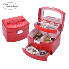 Fashion three layers of automatic jewelry box European Princess storage Leather  earrings gift Birthday