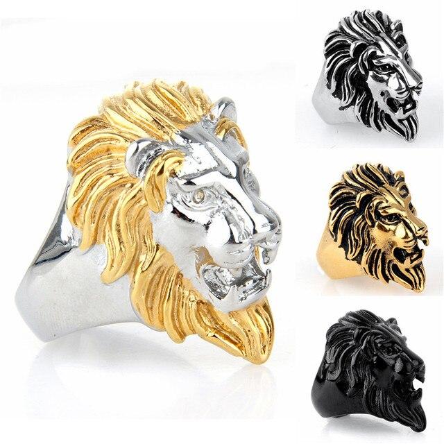 Vintage Stainless Steel Gold/ Black Color Lion Head Ring for Men Punk Rock 316L