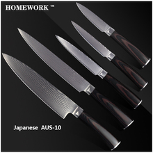 XYJ Brand damascus pattern 8 inch chef slicing 5″ 5″ utility 3.5″ paring knife damascus AUS-10 Damascus steel kitchen knives.