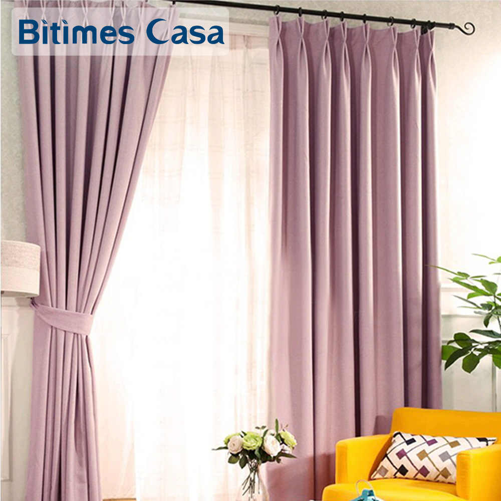 Good Sleep Blackout Window Curtain Drapes Twill Pattern Polyester Linen Fabric For Living Room Bedroom High Shading Solid Color