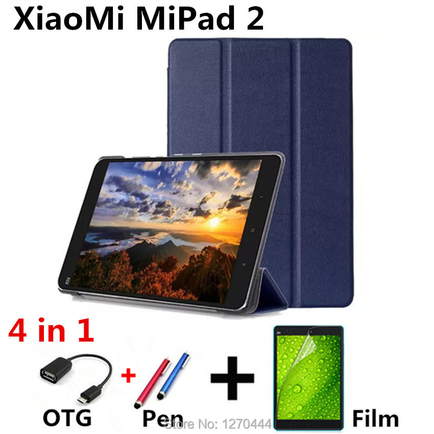 For Xiaomi Mipad 2 Pu Leather Case Cover capa para for Xiaomi Mi Pad 7.9'' Tablet PC Flip Case PC+Film+OTG+Pen