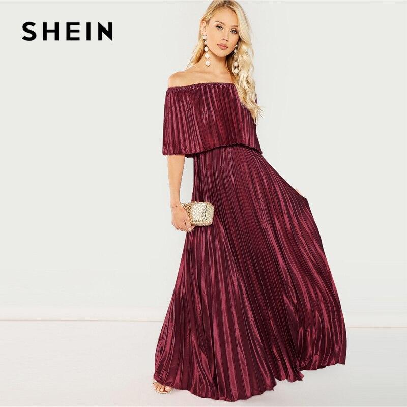 58a3d556e91e2 SHEIN Burgundy Flounce Foldover Front Off Shoulder Pleated A Line Solid  Elegant Autumn Modern Lady Women Maxi Party Dresses