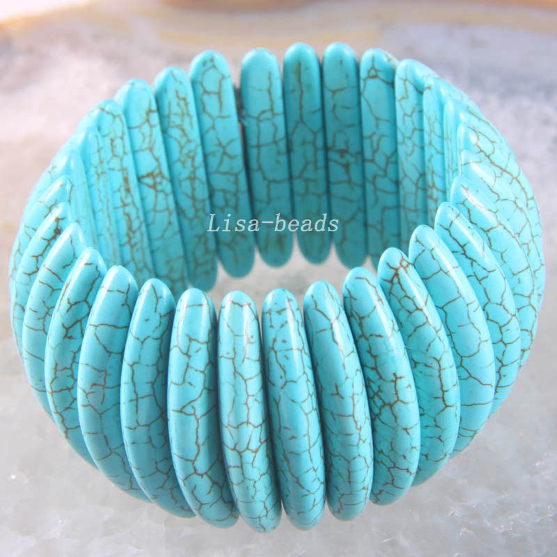 Free Shipping New without tags Fashion Jewelry Blue Stretch Howlite Bracelet 8 1Pcs RH1392