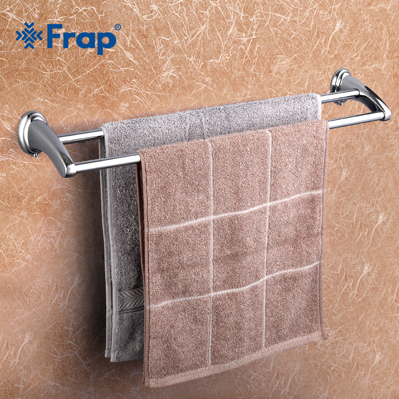 Frap 1Set Wall Mounted 60cm Double Towel Bars Towel Holder hooks restroom Towel Rack Bathroom accessories F1509 luxury gold color brass wall mounted single towel bars towel holder restroom towel rack bathroom accessories bba843