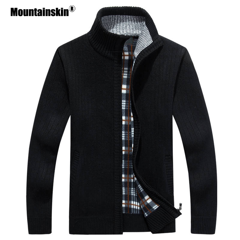 Mountainskin Men's Sweaters Autumn Winter Warm Thick Velvet Sweater Jackets Cardigan Coats Male Clothing Casual Knitwear SA597