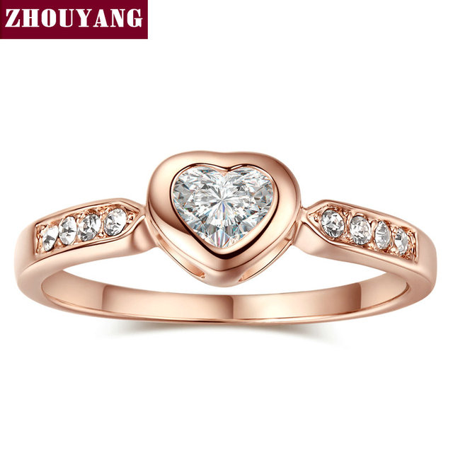 Top Quality ZYR085 Heart Shape Crystal Ring Rose Gold Color Austrian Crystals CZ