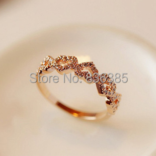 2014 latest style 5 Love Lucky  peach rings Beautiful girls  ring 18K Gold Plated Brand Jewelry For Women Gift anel aneis