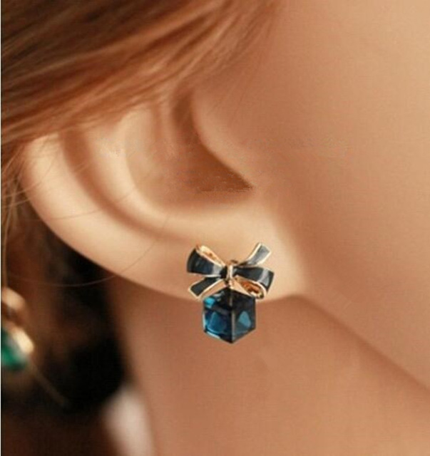 Gold Color Bowknot Cube Crystal Earring Square 2