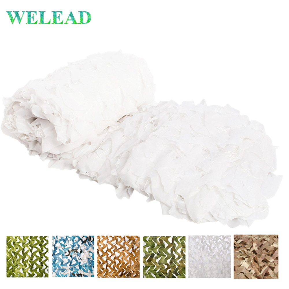 WELEAD <font><b>2x10</b></font> Reinforced Camouflage Net White Mesh Army Camo military Hide Garden Pergola Awning Decor Shelter Roof 10x2 10*2 2*10 image