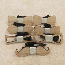Модная новая стильная детская деревянная бабочка в виде усов и геометрических фигур, классические галстуки-бабочки из бамбукового дерева для питомцев