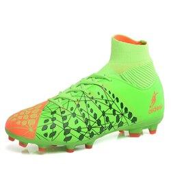 Męskie kostki wysokie szczyty buty piłkarskie korki długie kolce trawnik zewnętrzny korki Chuteira Futebol wodoodporny 46
