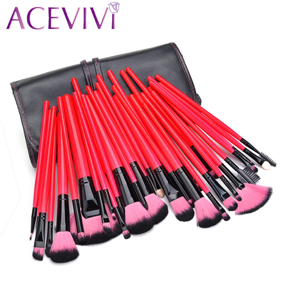 ACEVIVI 32 Pcs Makeup Brush Set Professional Cosmetic Powder Foundation Eyeshadow Brushes Make up Kit + Pouch Bag Case acevivi professional oval shape makeup rose golden color brushes cosmetic make up brush tool set foundation powder brush kits