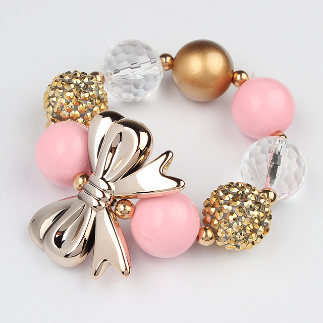 2018New Arrival Gold Color Girls Bowknot Chunky Beads Strand Bracelets Girl Love