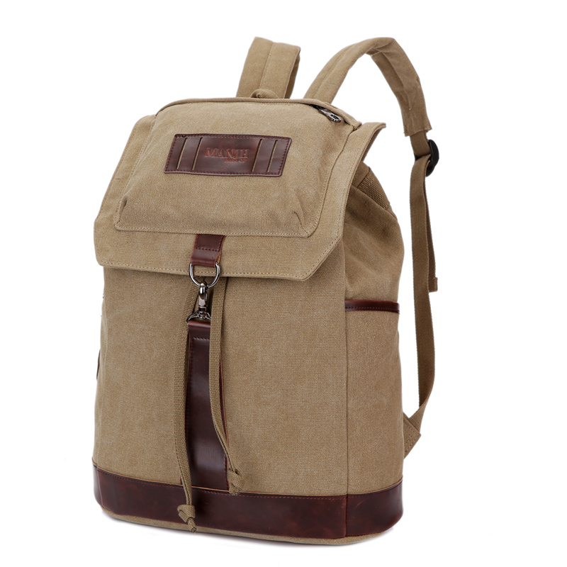 Fashion Canvas Travel Backpack Men Casual School Bags For Teenage Boys Patchwork Leather Male Drawstring Backpack Rucksack 1284 canvas backpack women for teenage boys school backpack male