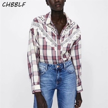f3bf906925c413 CHBBLF women lace patchwork plaid blouse side split long sleeve turn down  collar