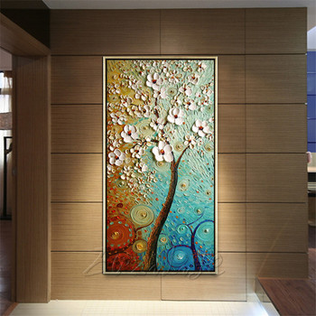Canvas Painting Hand Painted palette knife 3D texture Flower Tree Wall Pictures For Living Room Christmas decorations for home09