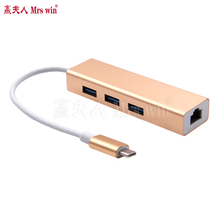 High Quality USB 3.1 Type C to 3-Port USB 3.0 Hub with RJ45 10/100/1000 Gigabit Ethernet Network Adapter LAN Wired Converter
