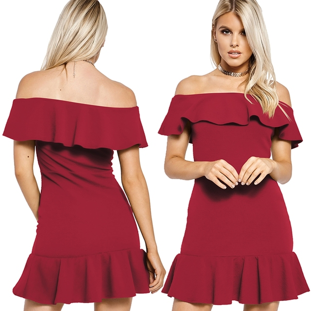 b03c3358e5b3 Women Ruffle Dress 2018 Bodycon Dress Black White Mini Ruffles Dress Sexy  Party Burgundy Off The Shoulder Dresses Vestidos Q4