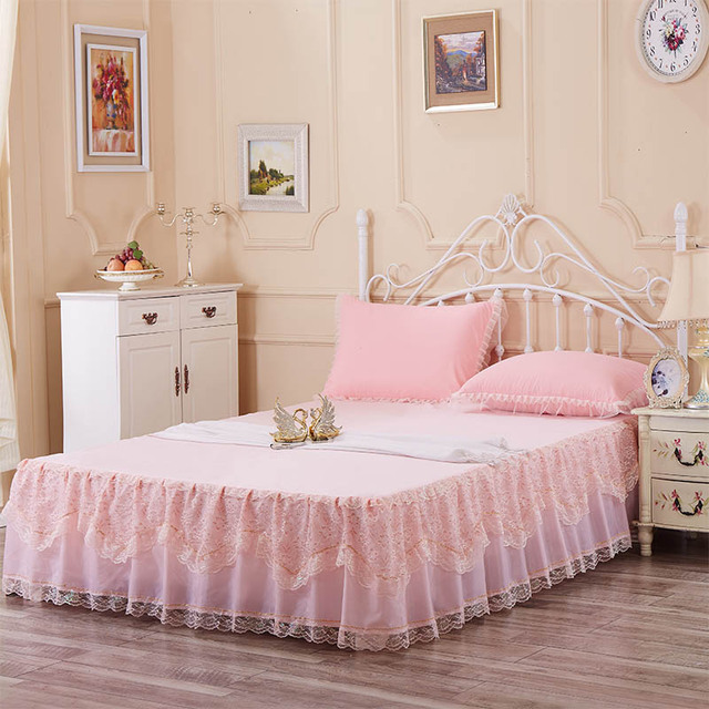 Pink Bed Skirt Queen.Romantic Bed Skirt Lace Bed Covers Queen Bedspread Set Pink Bed Skirt Bedspread One Piece
