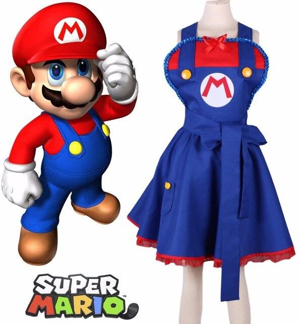 fba12d6f8a Free Shipping Super Mario Bros Mario Female Lolita Dress Anime Cosplay  Costume