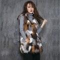 2016 Новый Настоящее фокс меховой Жилет женщин длинные лиса шубу зимой полушубок индивидуальные большой размер Бесплатная доставка H813