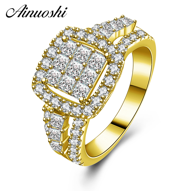 AINUOSHI 10K Solid Yellow Gold Wedding Halo Band Rows Drill Square Cluster Band Bridal Ring Engagement Jewelry for Women MaleAINUOSHI 10K Solid Yellow Gold Wedding Halo Band Rows Drill Square Cluster Band Bridal Ring Engagement Jewelry for Women Male