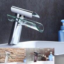 Ванной кран, Расширенный Современное стекло водопад современный хромированной латуни, ванная комната, умывальник смеситель Водопад Нажмите 2013 XP-007