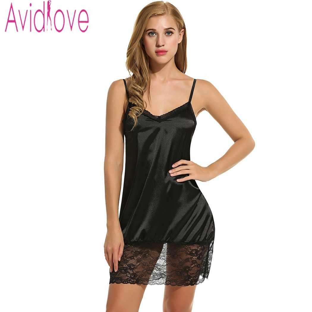 f6db69b5ca0 Avidlove Ladies Sexy Satin Night Dress Sleeveless Nighties V-neck Nightgown  Plus Size Nightdress Lace