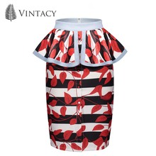 hot deal buy vintacy pencil skirt female bodycon peplum knee length red print floral high waist skirts women ruffles plus size stripe skirts