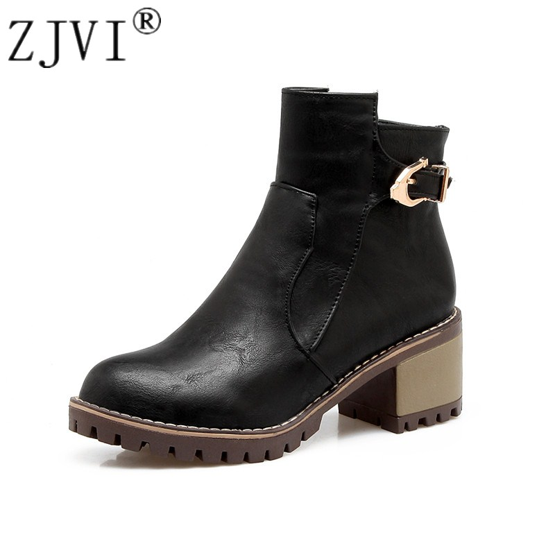 ZJVI womens ankle boots for women autumn winter Martin boots 2018 new sexy woman square heels ladies fashion buckle black shoes rizabina genuine leather boots rivet square heels autumn winter ankle boots sexy martin fur snow boots shoes woman size34 39