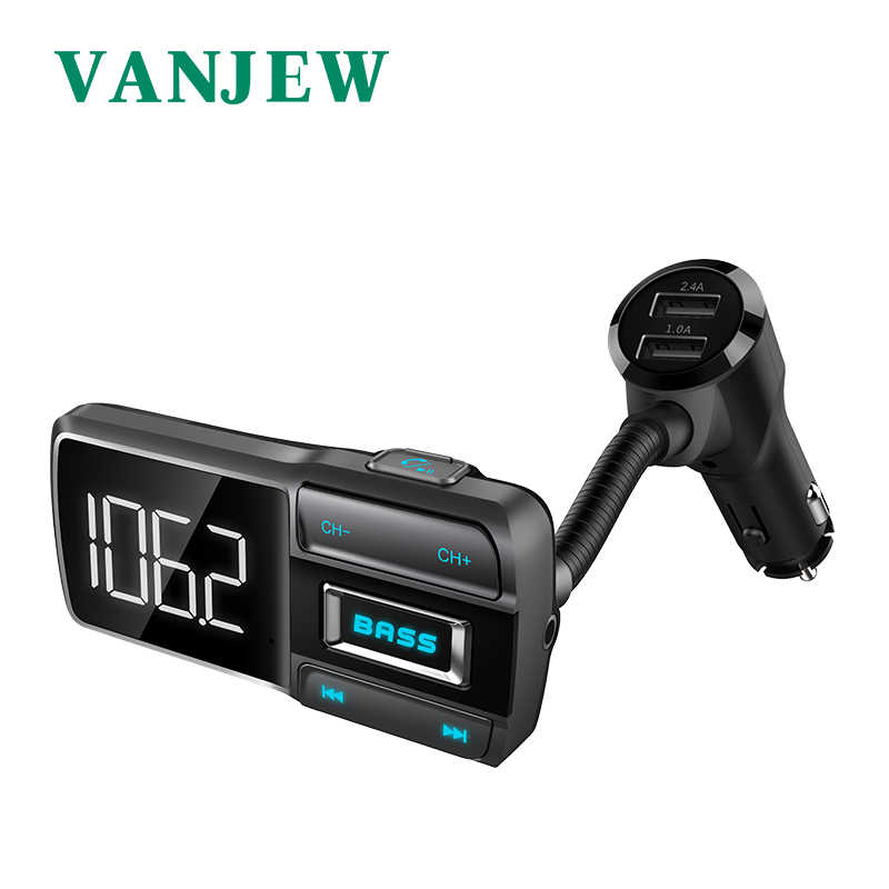 VANJEW BT77D tay Bluetooth Bộ Phát FM Xe Hơi 2 CỔNG USB 5 V 3.4A Xe Sạc Sạc Điện Thoại FM Bộ Điều Chế MP3 Người Chơi