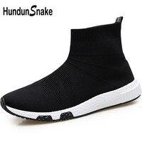 Hundunsnake High Top Running Socks Sneakers Men Black Male Sports Shoes Sport Knit Mens Running Shoes Athletic Basket Homme T651