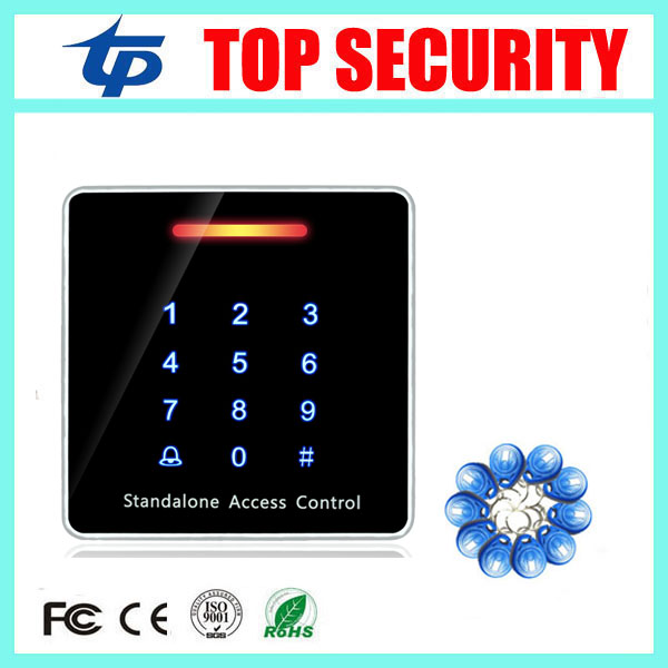 цена на Biometric smart RFID card access controller standalone door access control system 125KHZ EM card reader + 10pcs RFID key.