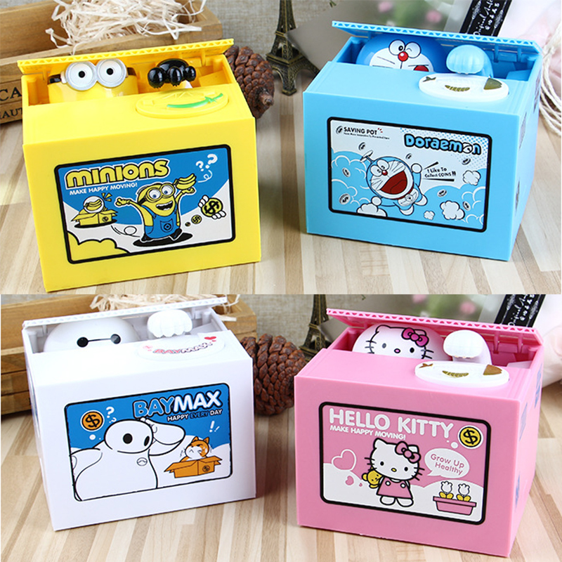 Cute Cartoon Piggy Bank Money Saving Box Kitty Minions Baymax Doraemon Piggy Bank Music Coin Bank Money Storage Box