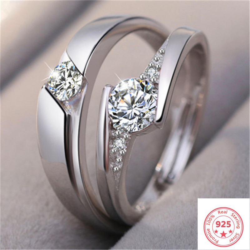 100% Real 925 Sterling Silver One Pair Diamond Ring Pave Setting Adjustable Opening Couple Ring Jewelry Gemstone Bizuteria Women