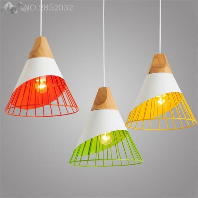 Modern Nordic Wood+Metal Colorful Pendant Lights for Kitchen cafe ...