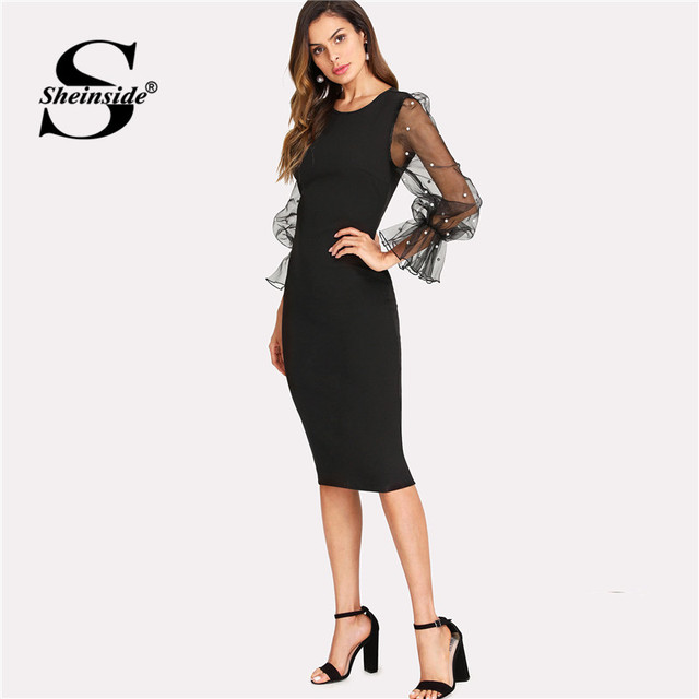 c3fa51835303 Sheinside Pearl Beaded Mesh Sleeve Midi Dress Women Knee Length Regular Fit Bodycon  Dress Summer Elegant Pencil Party Dress