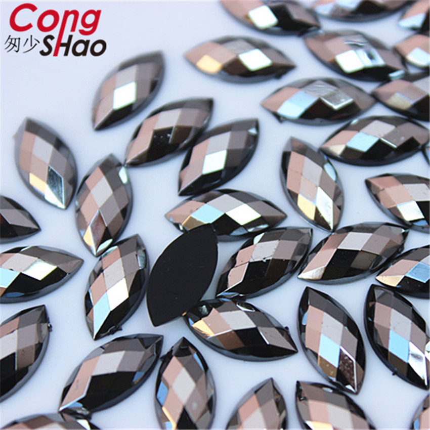 Cong Shao 100PCS 7 15mm AB Colorful Horse eye flatback Acrylic rhinestone trim stones and Crystals Decoration Accessories WC54 in Rhinestones from Home Garden