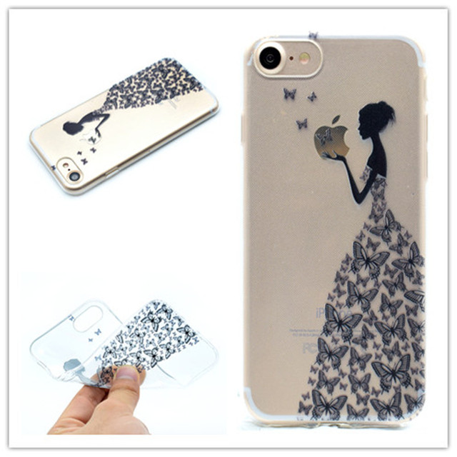 0f16ee1001 Transparent TPU Cover For iPhone 6 6S Case Fashion colour decoration Tower  bike Butterfly Girl Feather Design Mobile Phone Cases